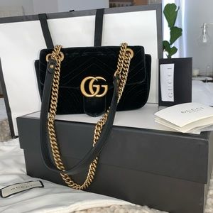 GUCCI GG Marmont black velvet mini bag